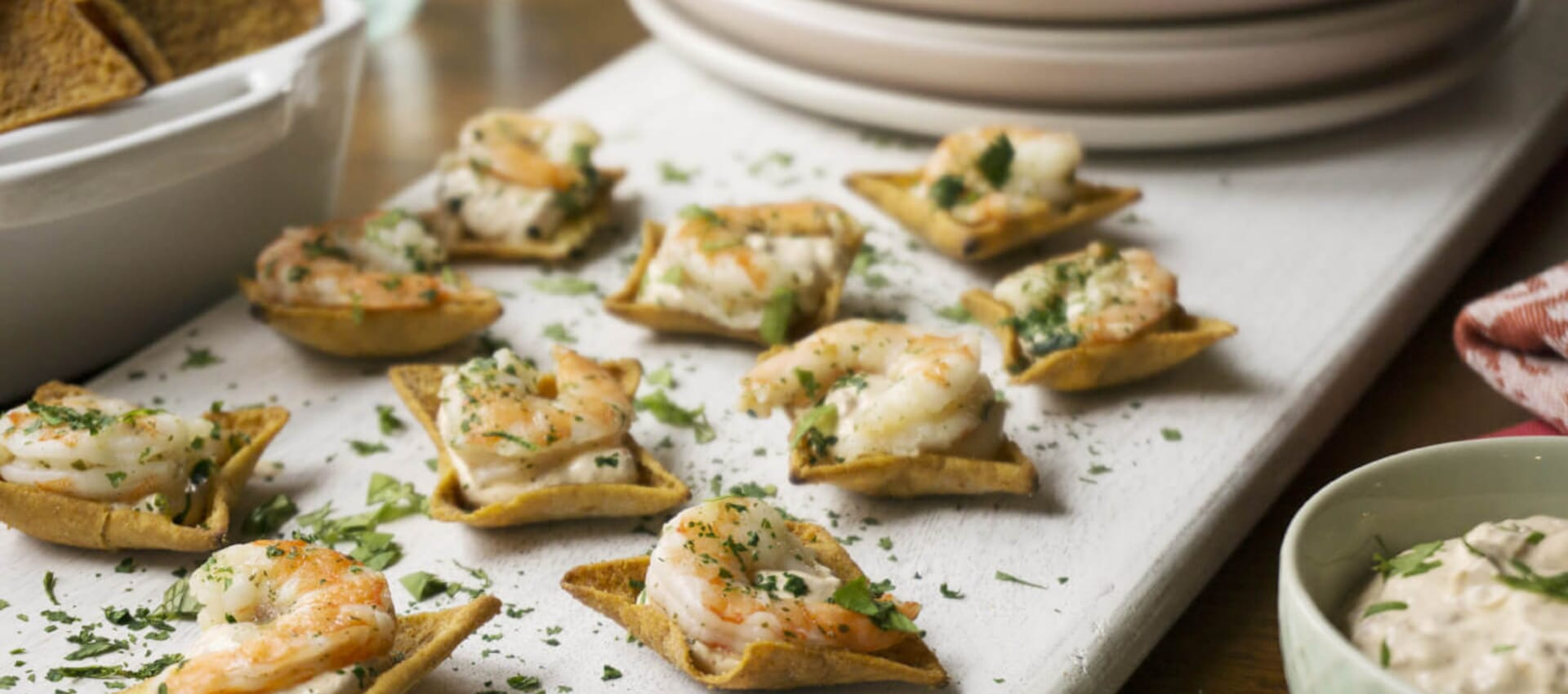 Shrimp Bites on Toufayan Bakeries Gluten Free Pita Chips
