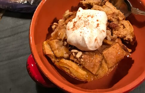 Pita Bread Pudding with Pumpkin and Toasted Walnuts