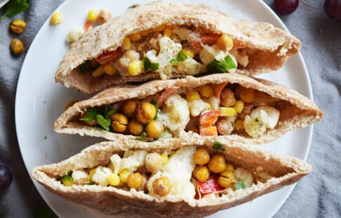 Roasted Chickpea Cauliflower Pitas