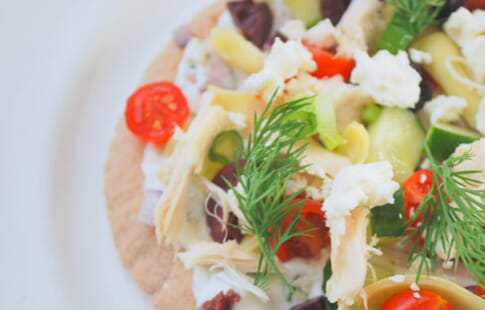 Greek Pita Tostadas with Tzatziki