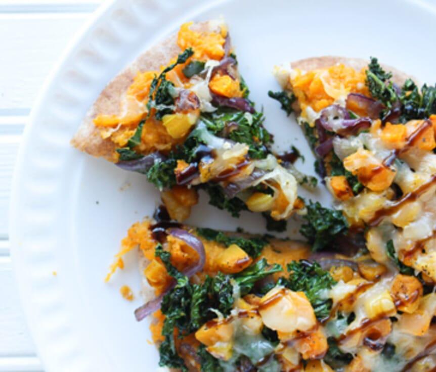 Butternut Squash and Kale Pita Pizza