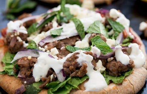 Lamb and Spinach Pita Pizza