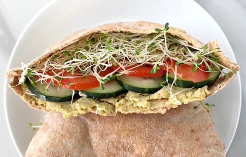 Veggie Pita Sandwiches with Avocado Hummus