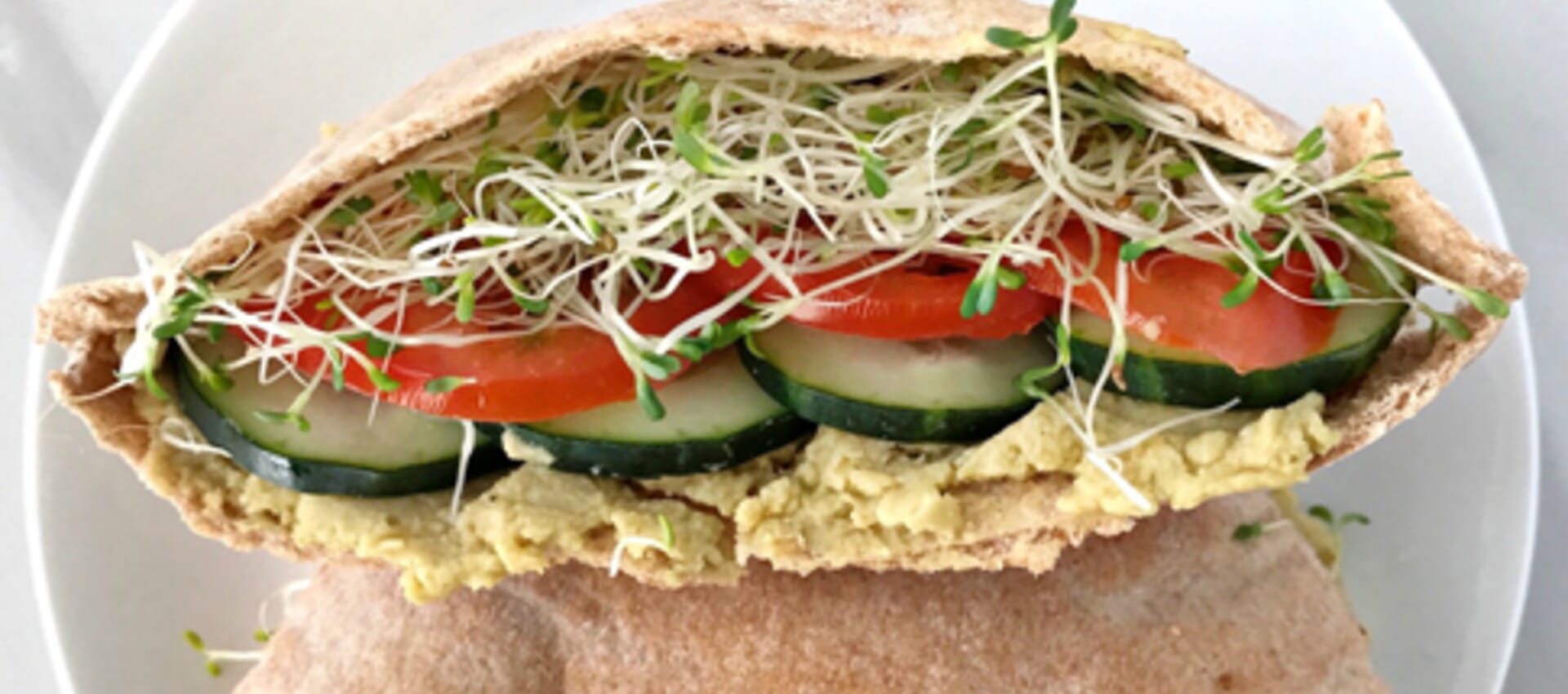 Veggie Pita Sandwiches with Avocado Hummus