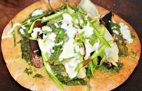 Spring Veggie Pizza with Spinach Pesto