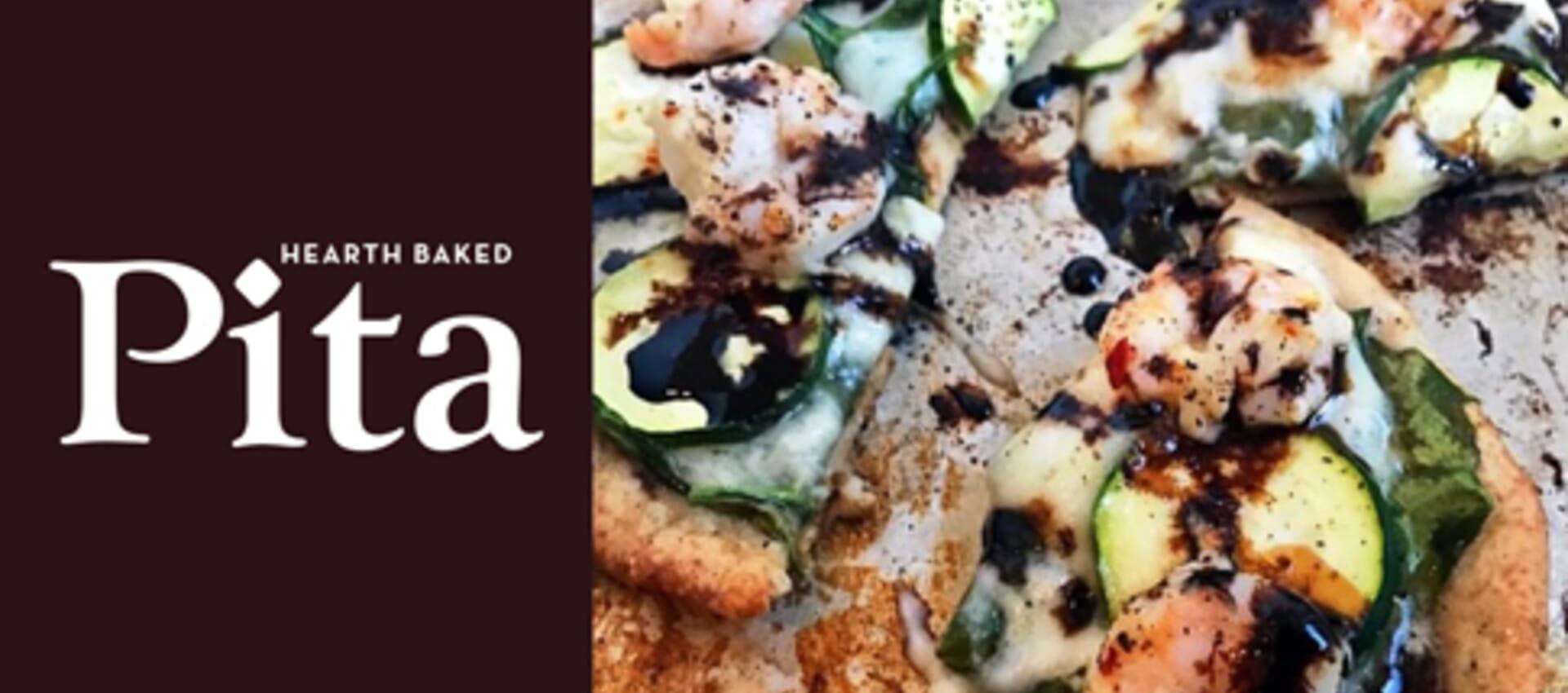 Mediterranean Lemon Shrimp Pita Pizza with Balsamic Glaze