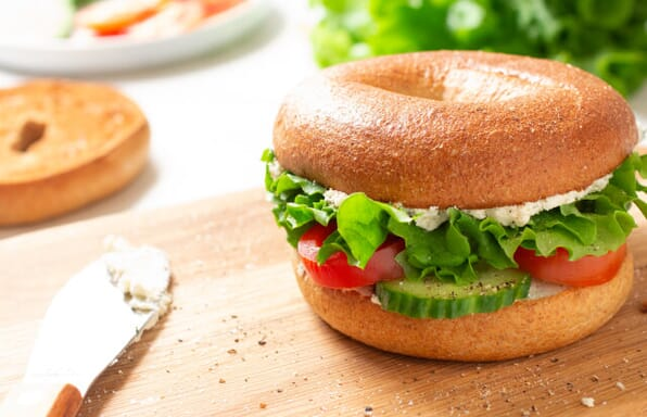 Hearth Baked Bagel With Herbed Cream Cheese & Cucumber, Tomato